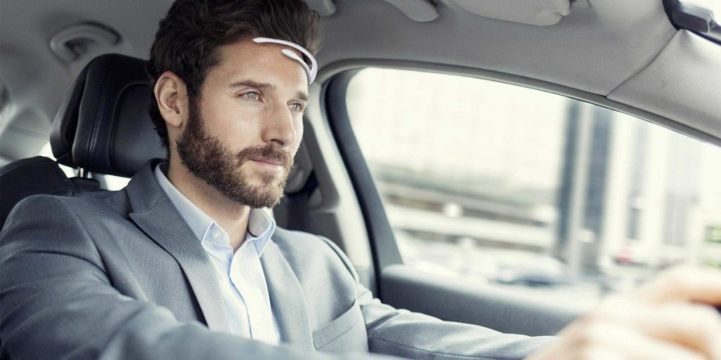 man driving car emotiv insight headset