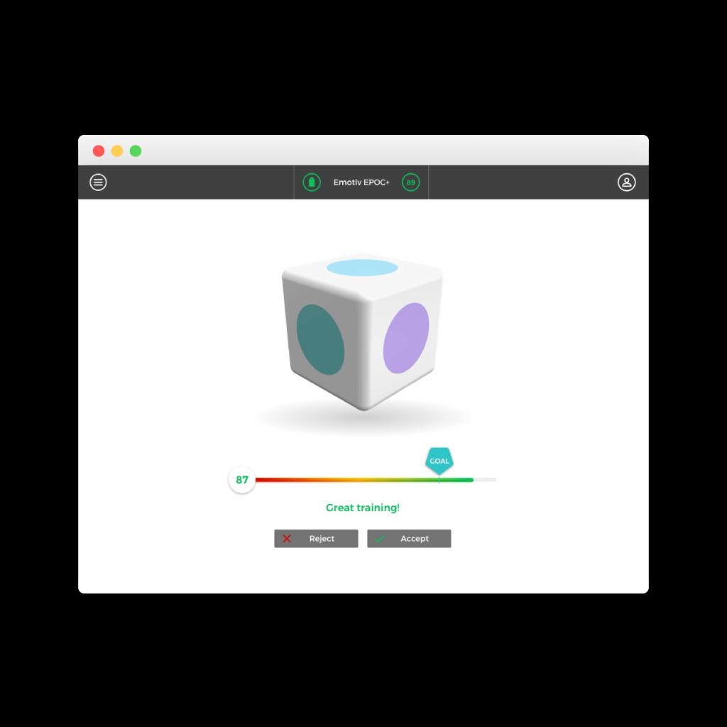 EmotivPro performance interface screenshot metrics research recording exporting emotiv bci train training